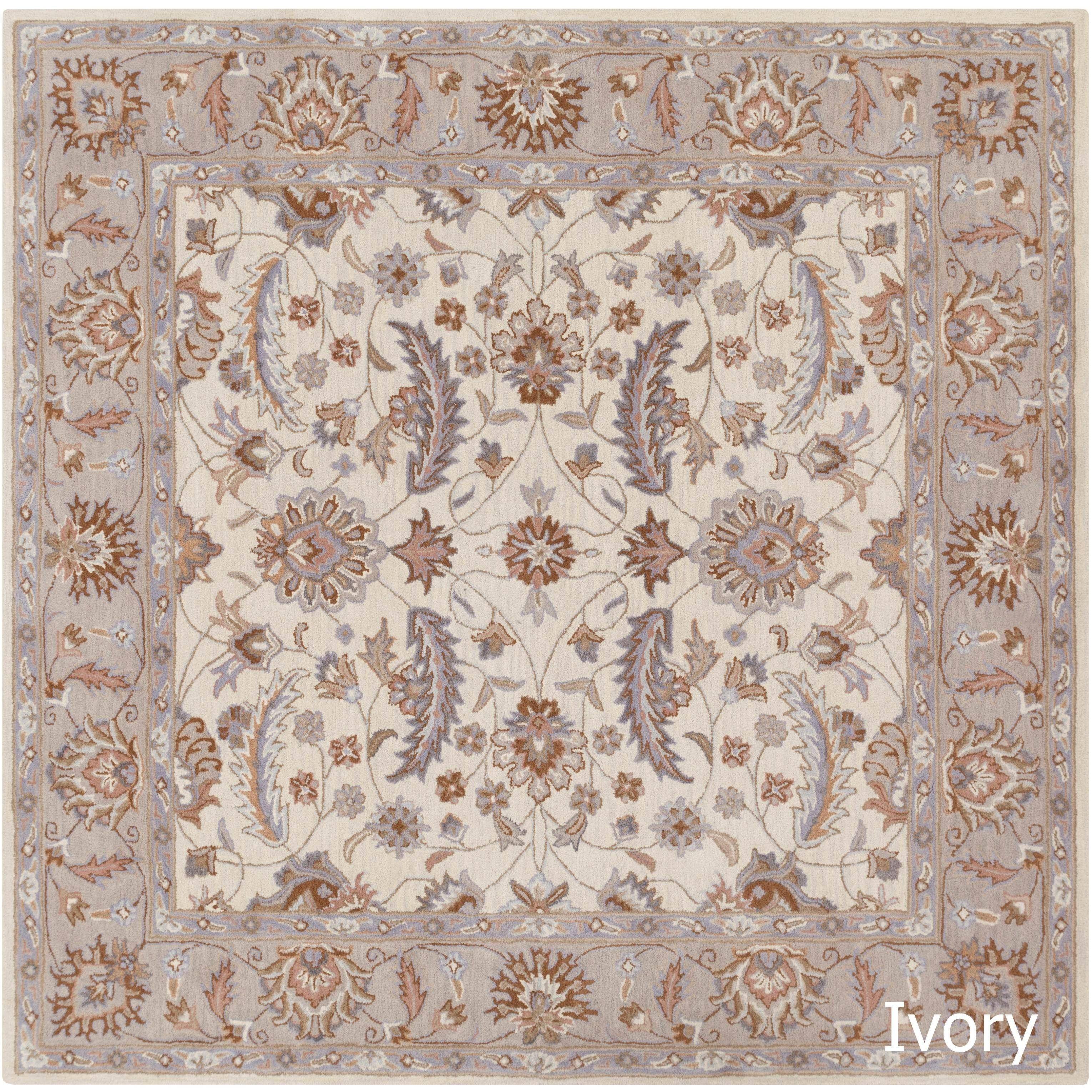 Hand Tufted Tiana Traditional Wool Rug 6 Square Olive Green Size X