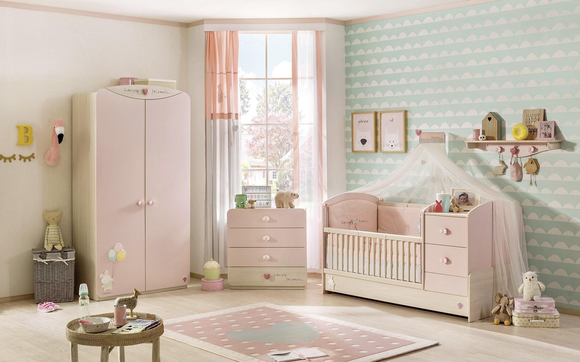Gordijn Babykamer Babykamers : Babykamer roze compleet babybed klamboe tapijt kast gordijn en