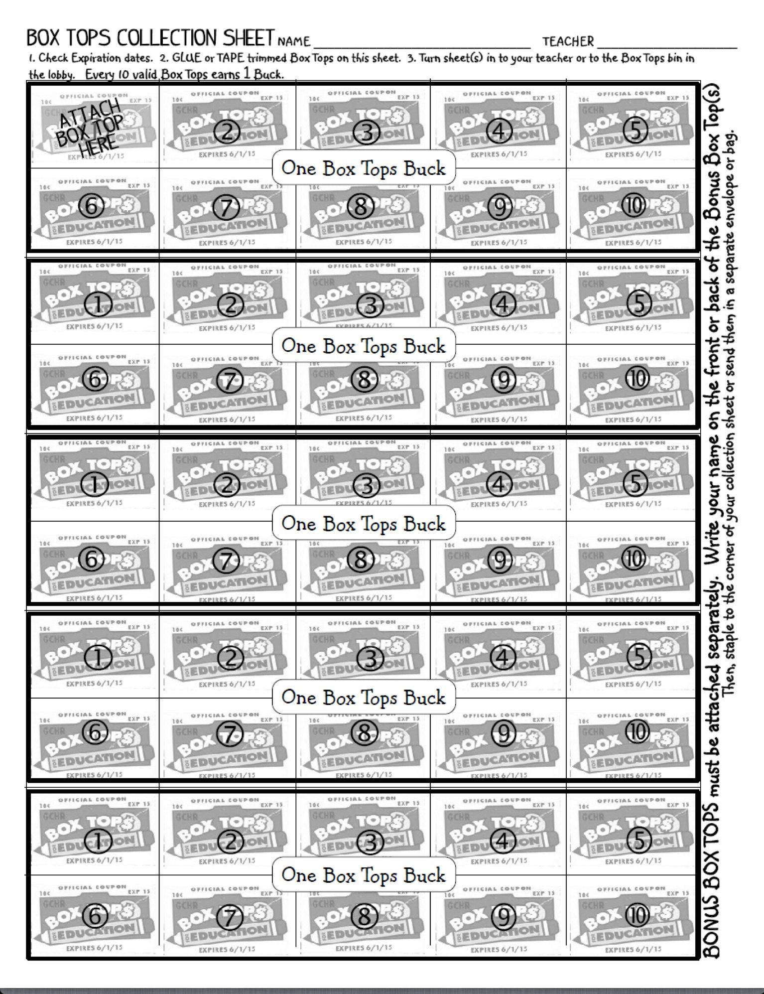 My Box Tops Bucks Collection Sheet Set Up For 50 Box Tops Kids Spend Their Bucks At The Box