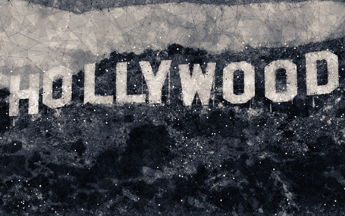 Download wallpapers Hollywood Sign, geometric art, sign on