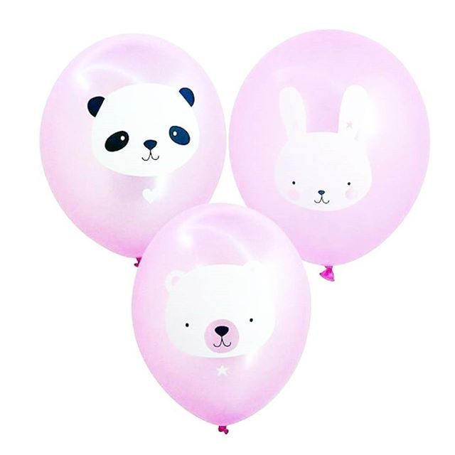 our cute new baby-animal #balloons are just tooo cute! (Also available in pastel blue)  #alittlelovelycompany #babyshower #prettypastel #babygirl #panda #bunnylove