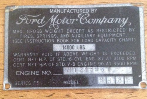 Vintage Ford F5 Truck Data Plate Id Vin Tag Plaque 1948 Original