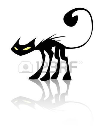 Image Of An Cat On White Background Cat Silhouette Black Cat White Cat