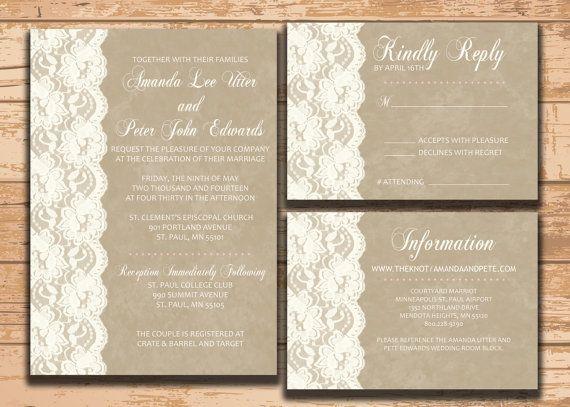 Wedding Invitation Set.  Instant Download. by KADdesignsforlove