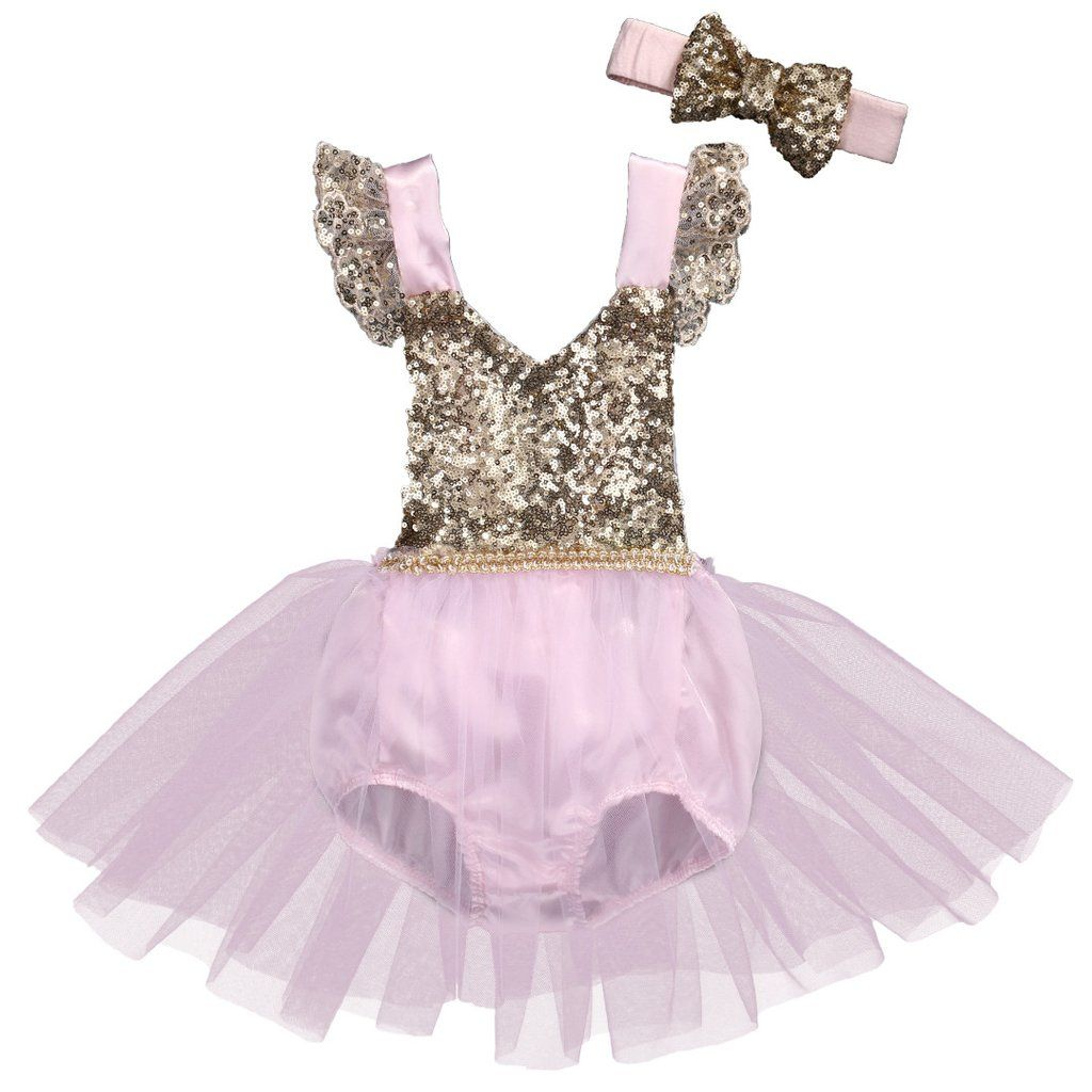 2ebd2b8446cb Natalia Light Pink and Gold Sequin Baby Romper with Tulle Skirt Headband