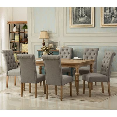 Roundhill Furniture Habitanian Solid Wood 7 Piece Dining Set Chair Finish Gray