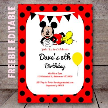 Free Editable Birthday Invitations in 2019 Birthday Mickey mouse