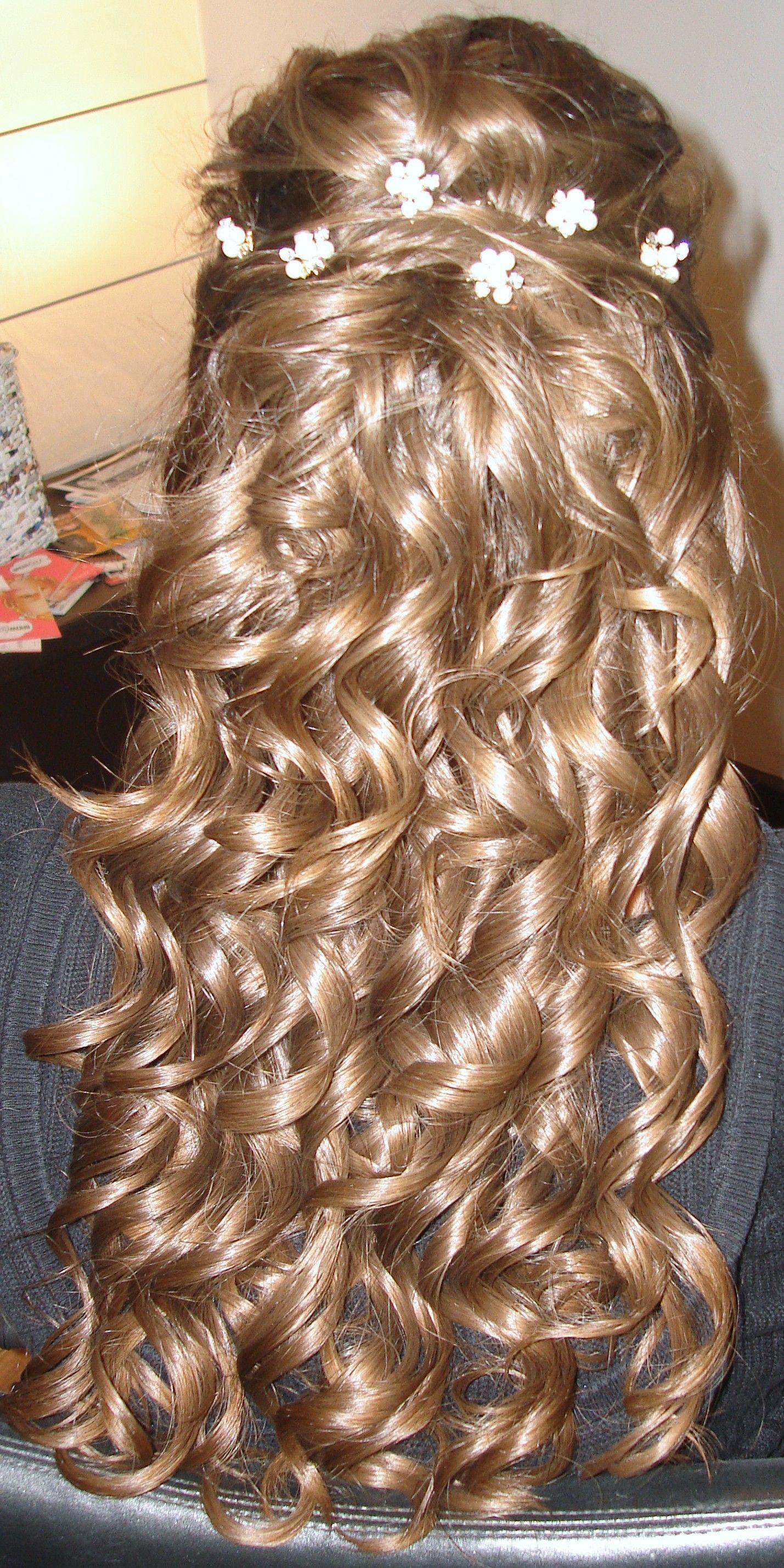 Bridal Hairhalf Uphalf Down With Medium Spiral Curls