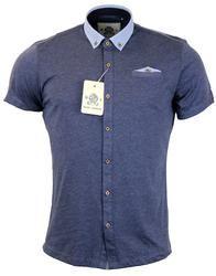 GUIDE LONDON Retro 60s Mod Geo Collar Jersey Shirt