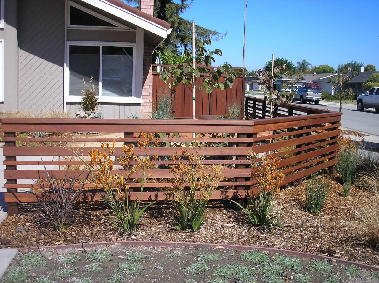 Horizontal Plank Redwood Fence