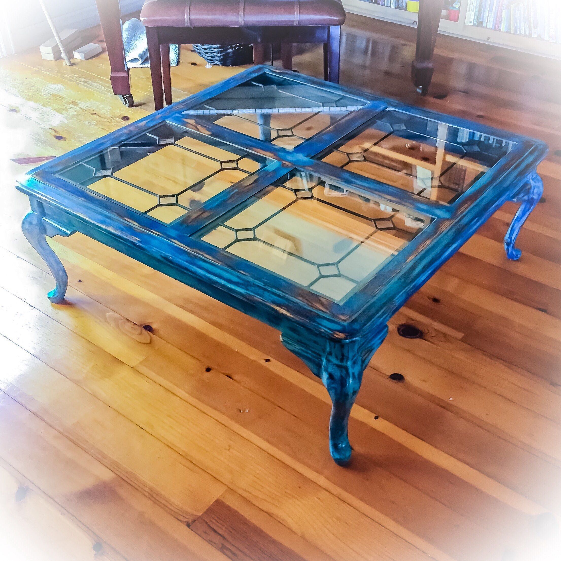 Large Antique Coffee Table Leaded Glass Top Distressed Coffee