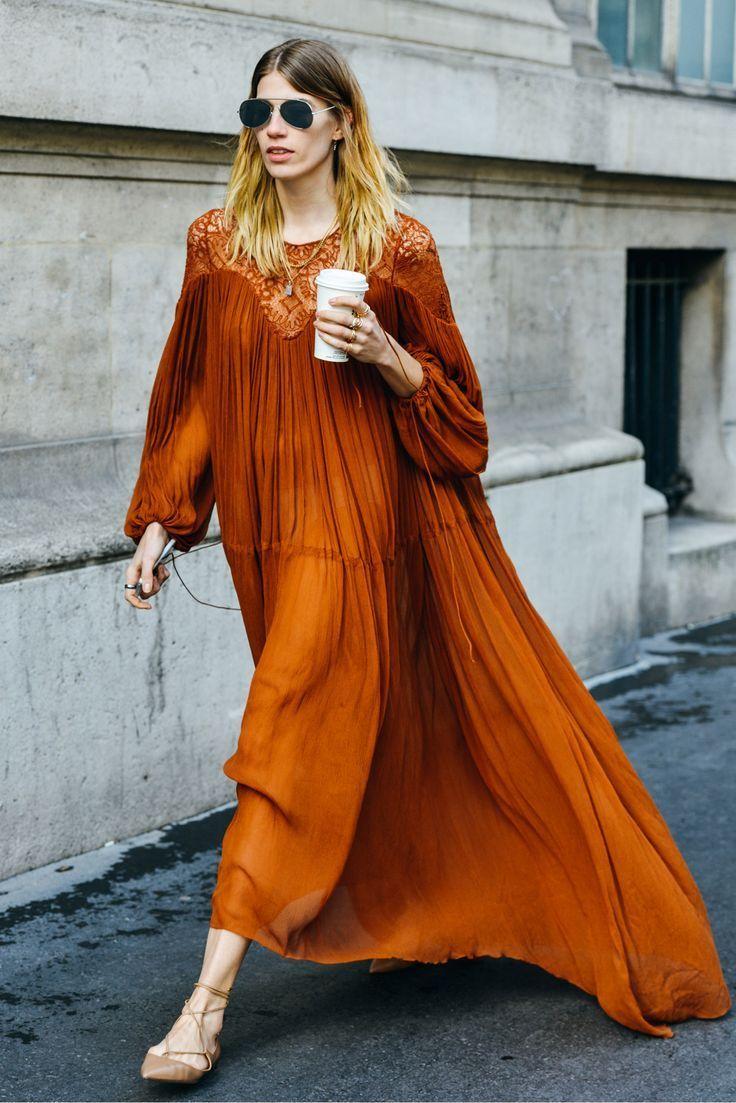 Us style boho burnt orange maxi dress image via style