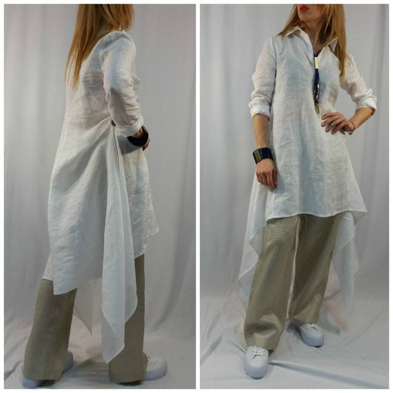 Loose Tunic Dress  Oversize  White Caftan  Maxi Summer Dress  long Sleeve Linen Top  Party Dress  EXPRESS SHIPPING  LA1001
