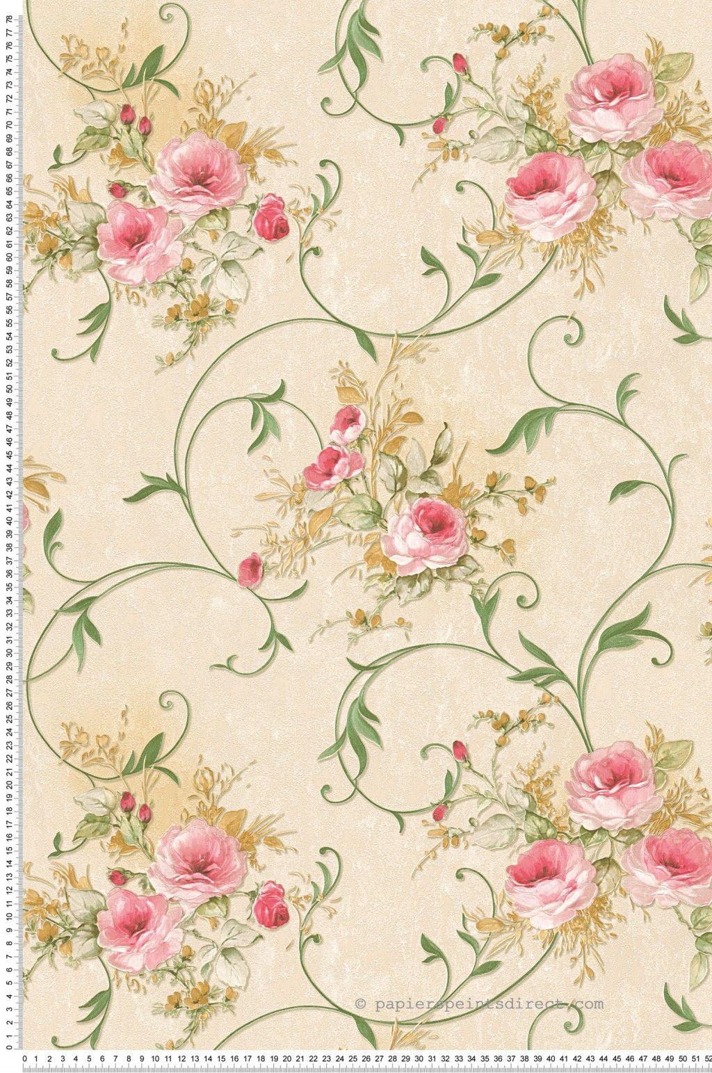 Papier Peint Fleurs Roses Effet 3d Romantica 3 As Creation Ref