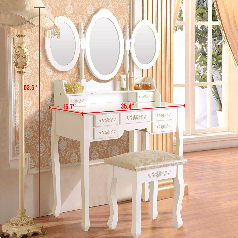 Elegance Dressing Table Set Vanity Makeup With Stool 7 Drawers 3 Folding Mirror Wood