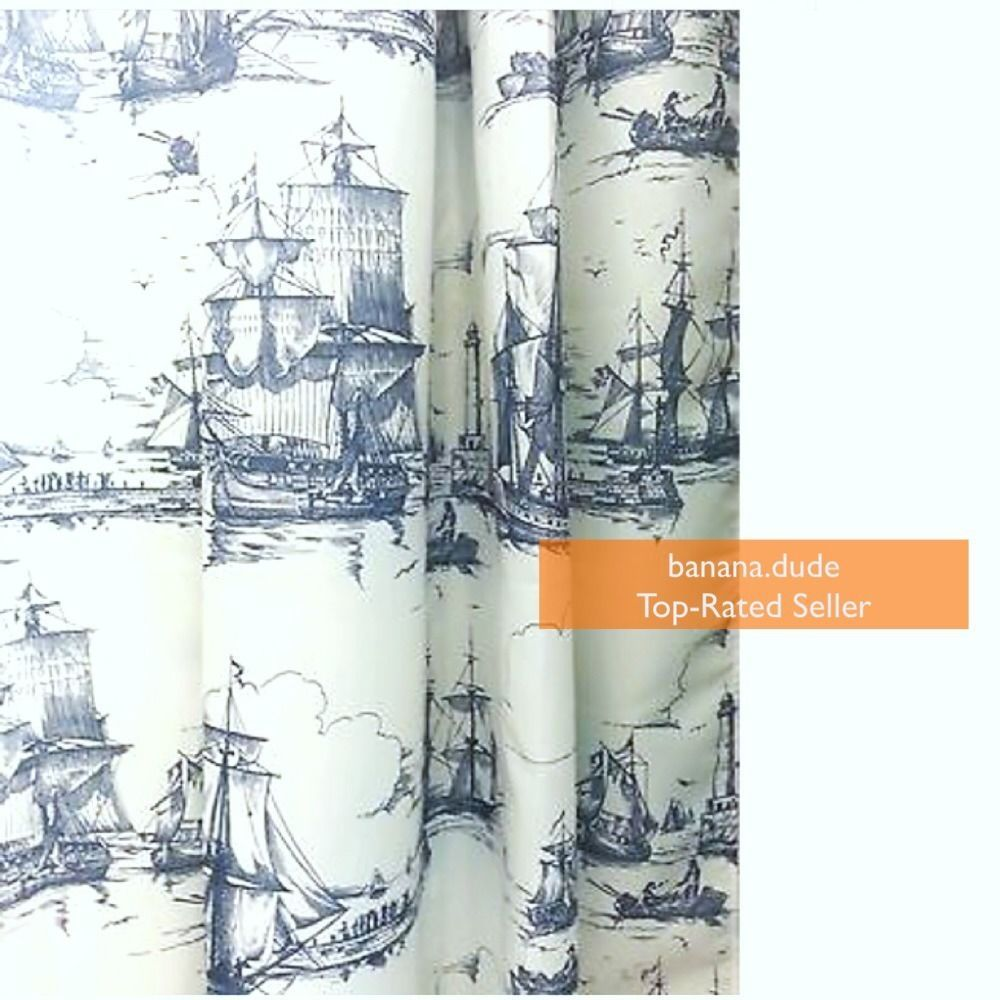 Free Ship Ikea Aggersund Nautical Fabric Shower Curtain White