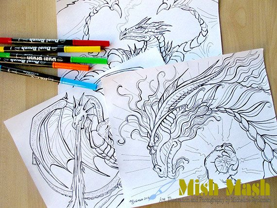 Coloring Pages For Dragons : Dragon coloring pages dragons mythical creatures by mishmashart