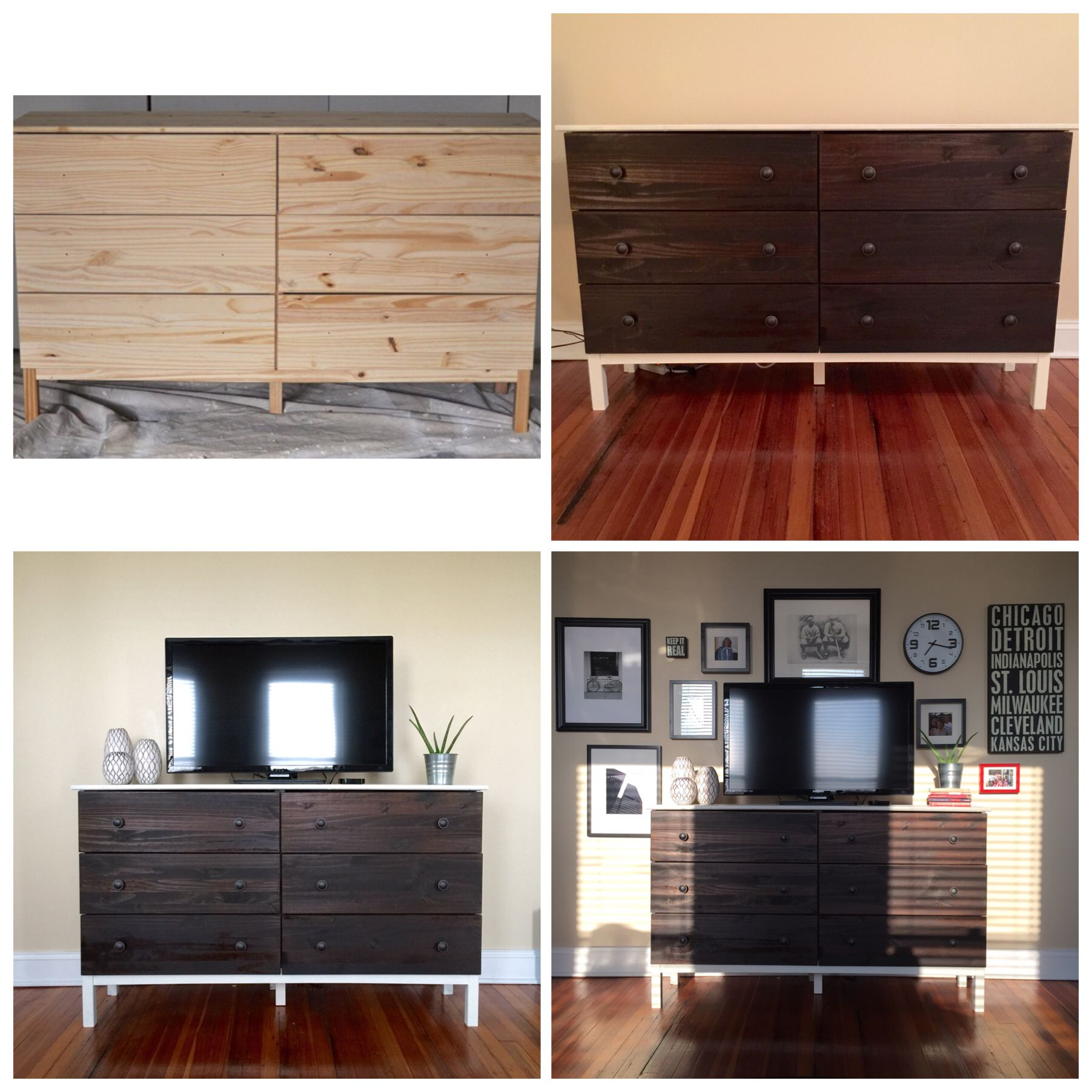 Ikea Tarva Dresser Hack Used As A Tv Stand With Gallery Wall I Think It Turned Out Pretty Well Ikea Tarva Dresser Home Decor Home [ 1803 x 1803 Pixel ]
