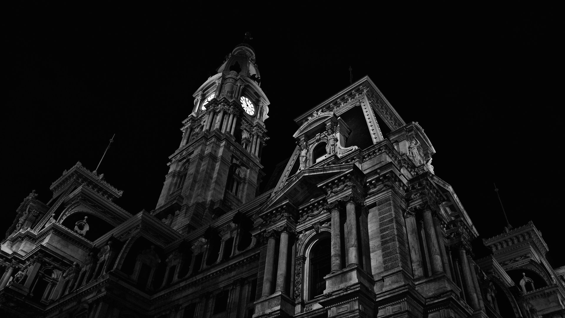 download black and white hd building full in wallpaper