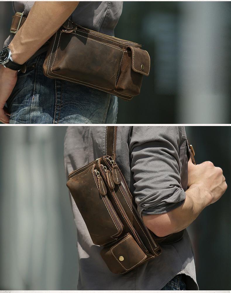 80619682d562 Leather Fanny Pack Mens Waist Bag Hip Pack Belt Bag Bumbag for Men ...