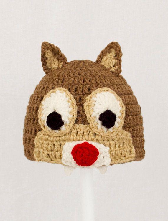 7589830d681 Chip or Dale Chipmunk Hat Brown Crochet Disney Beanie by GeekinOut ...
