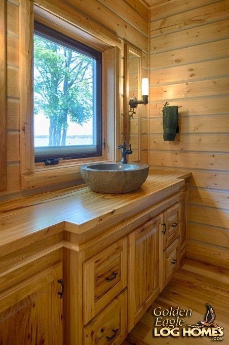 Log Home By, Golden Eagle Log Homes - Bathroom - Stone Vanity Sink