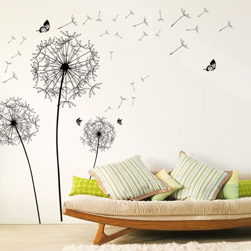 Wall Sticker With Black Dandelions Living Room Bedroom Decoration Wall Decal