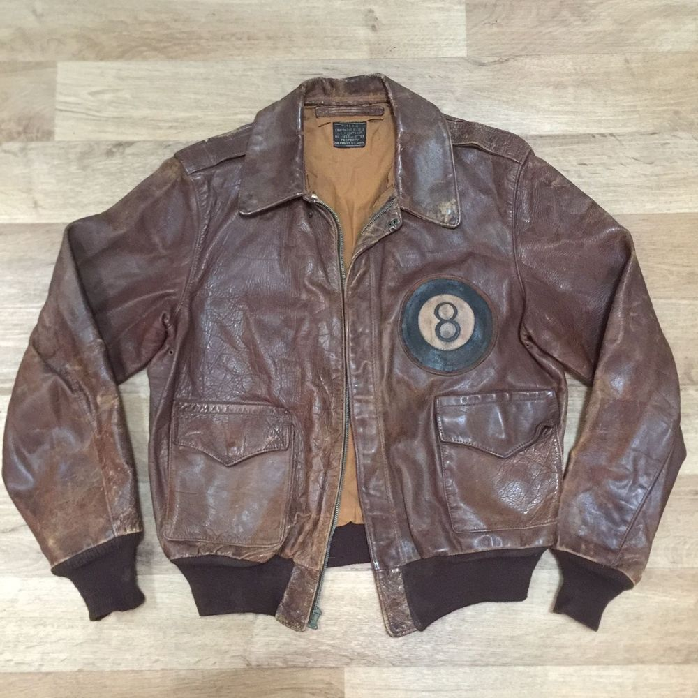 5b101efbe Details about WW2 A-2 Original Leather Flight Jacket Rare Patch ...