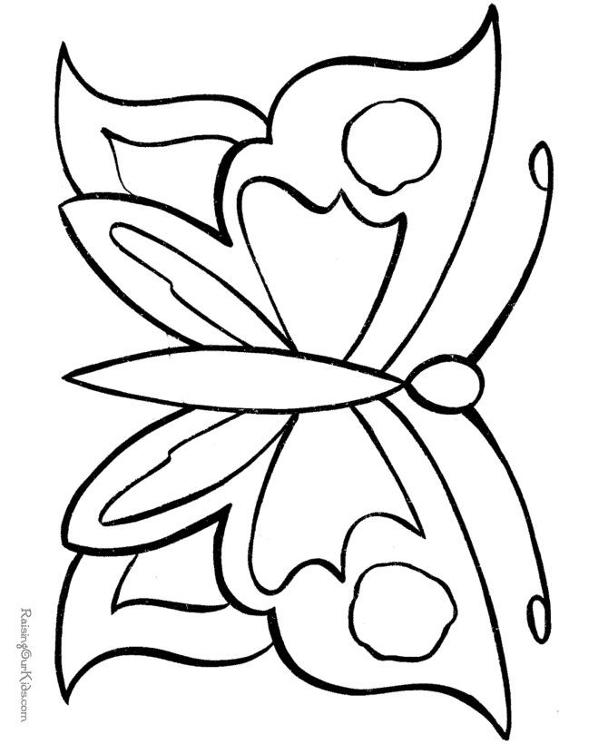 Easy butterfly coloring pages button art outline for Butterfly coloring pages