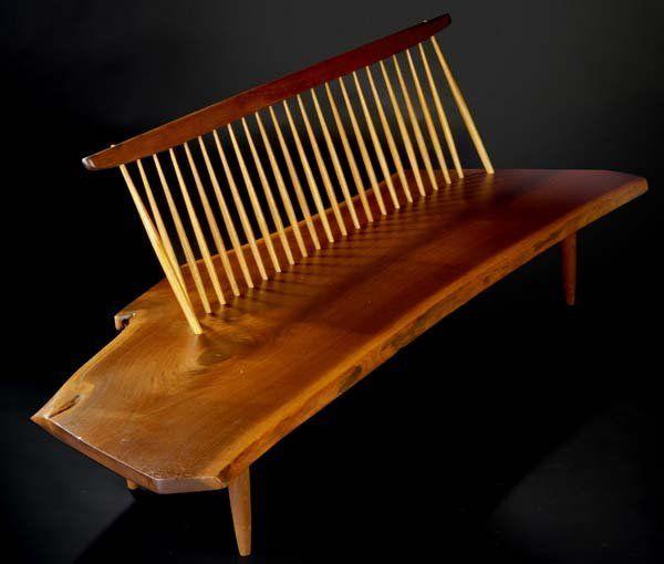 George Nakashima, Walnut Conoid Bench with Back, c1972.