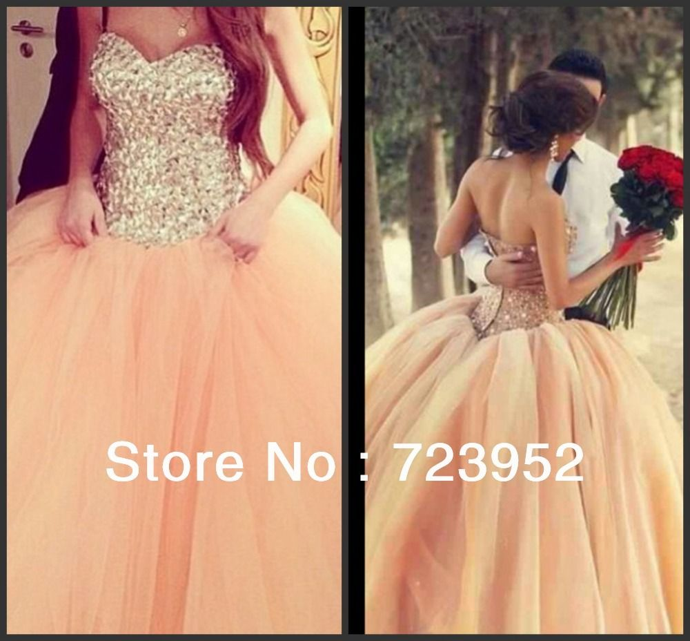 Aliexpress Com Buy Sl 82 Sweetheart Bling Bridal Gowns: Real Photo Gorgeous Sparkle Fully Rhinestone Bodice Peach