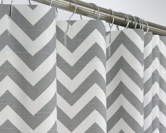 96 LONG Shower Curtain - Gray Chevron - 72 x 96 Long | Curtains ...