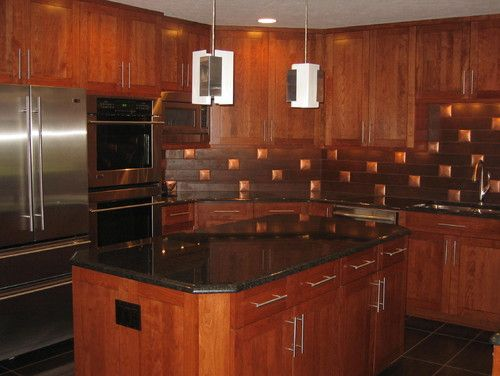 Kitchen Remodel Granite Countertops Porcelain Tile Backsplash