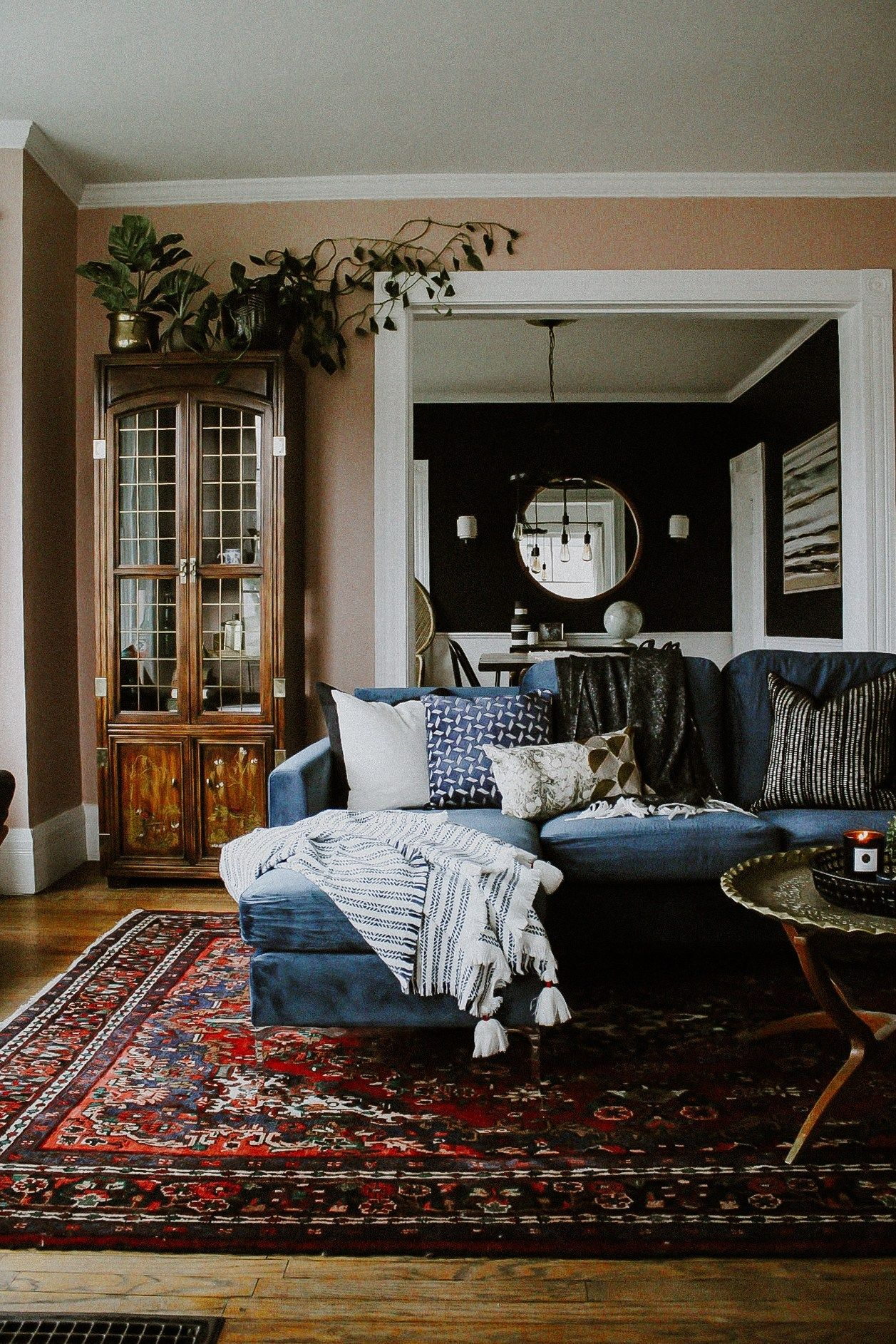 One Room Challenge Parlor Reveal A Colorful Living Room With Dusty Pink Walls Blue Velvet Sofa And A Pe Trending Decor Colourful Living Room 70s Home Decor #velvet #living #room #ideas