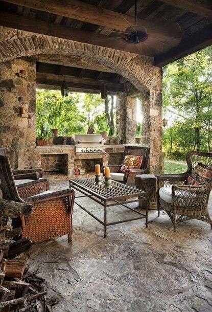 Log Cabin Outdoor Kitchen Design Informal Seating Large