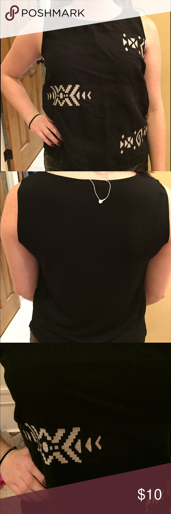 Eileen Fisher Black Tank NWT never been worn! tag ribbon still on but actual tag came off during a move. black with white patches. Eileen Fisher Tops Tank Tops