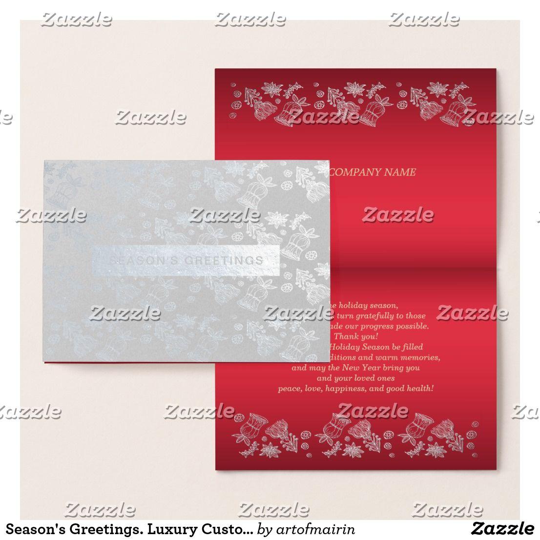 Seasons Greetings Luxury Custom Corporate Cards Happy Holidays