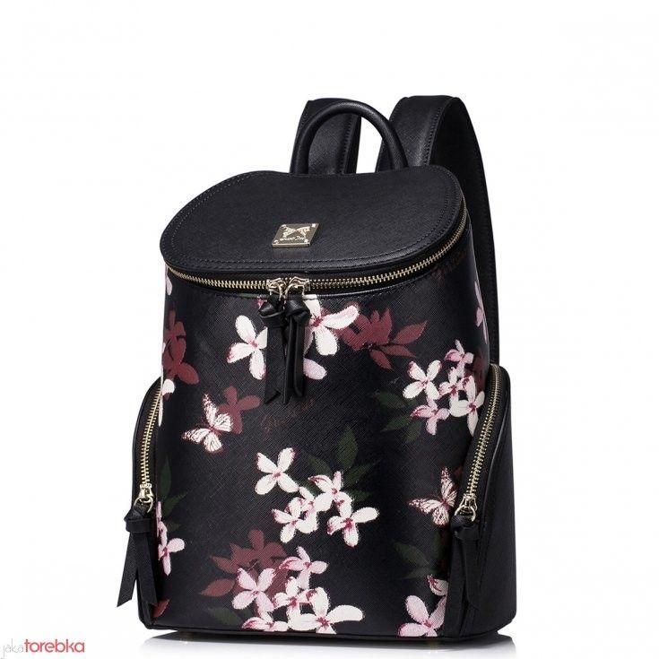 Plecak Damski W Kwiatki Czarny Bags Fashion Backpack Backpacks
