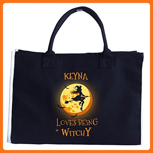 Keyna Loves Being Witchy. Halloween Gift - Tote Bag - Top handle bags (*Amazon Partner-Link)