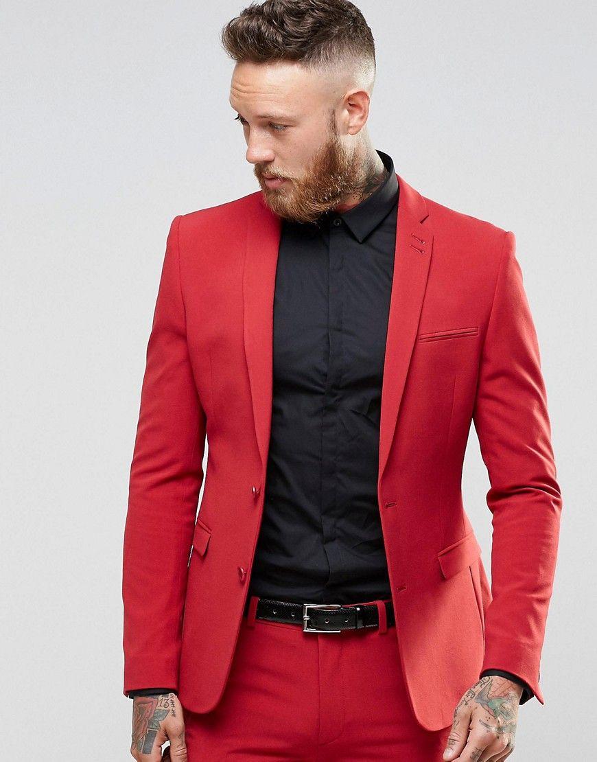ASOS Super Skinny Fit Suit Jacket In Red | groom | Pinterest ...