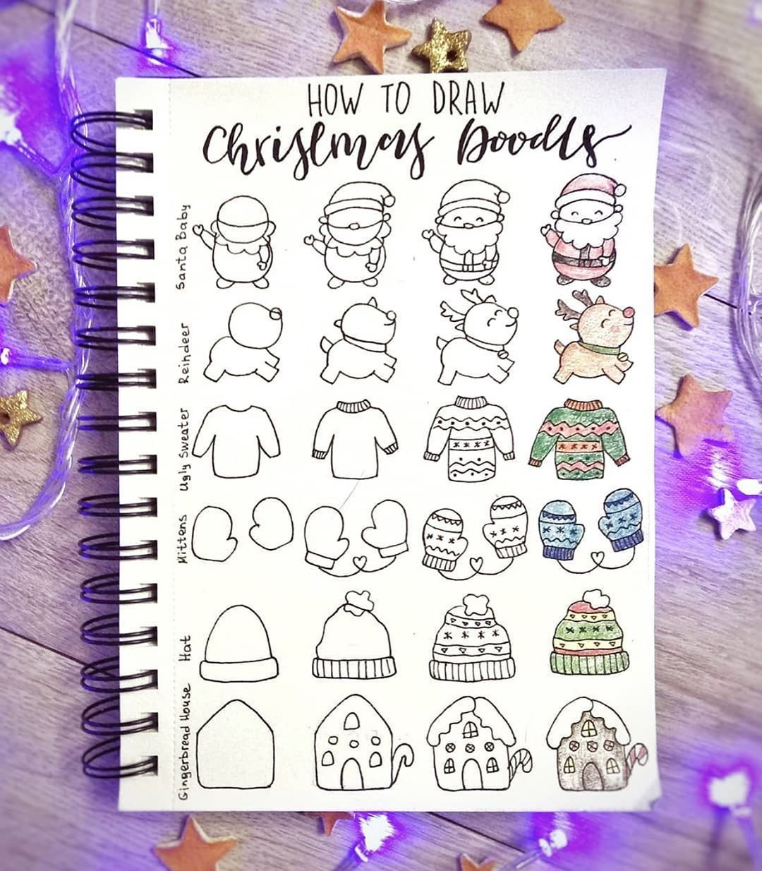 "NotebookTherapy.com | bujo 💕 on Instagram: ""In need of some cute doodles for your December journaling? 🧣🎅🏼❄️ @ginger.bullet.journal has you covered! Love these adorable step by steps…"""