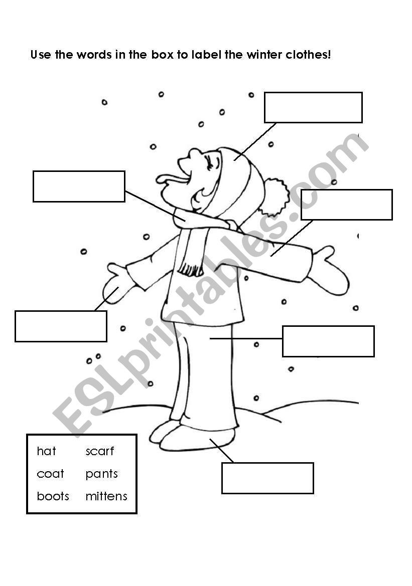 Using A Word Bank Label The Winter Clothes Clothes Worksheet Winter Words Winter Outfits [ 1169 x 821 Pixel ]