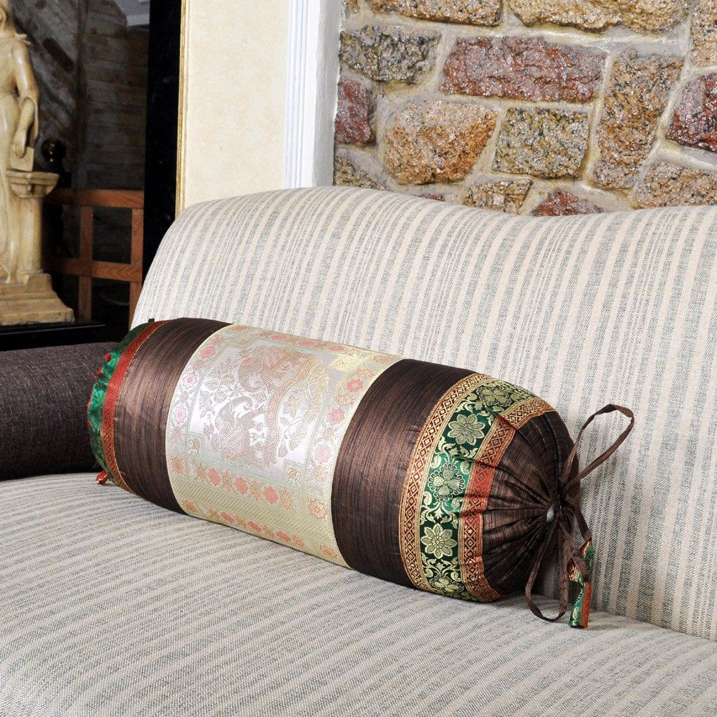 Neck Round Bolster Silk Brocade Work Bolster Pillow Cover with Filler Cushion Cover Living Room Decor