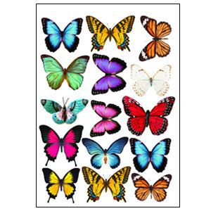 30x Azul mariposas Cupcake Toppers Comestible Oblea Papel Hada Cake Toppers