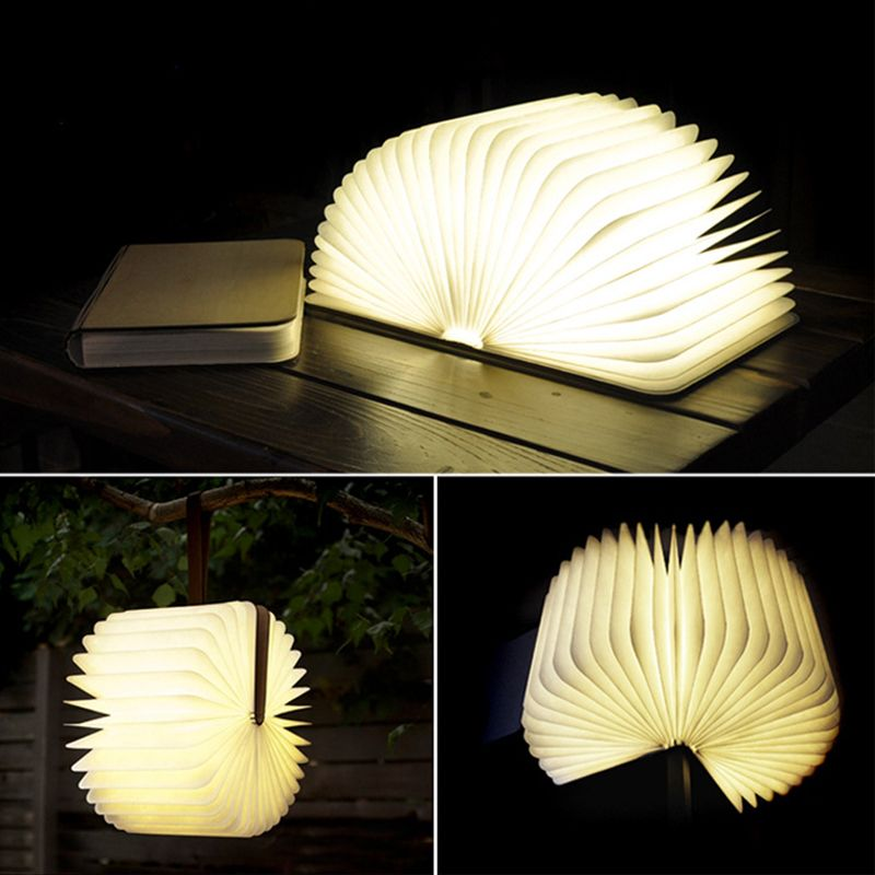 Wooden Foldable Led Nightlight Book Light Creative Led Book Lamp Portable Usb Rechargeable Night Light Book Lamp Portable Led Lamp Book Lights