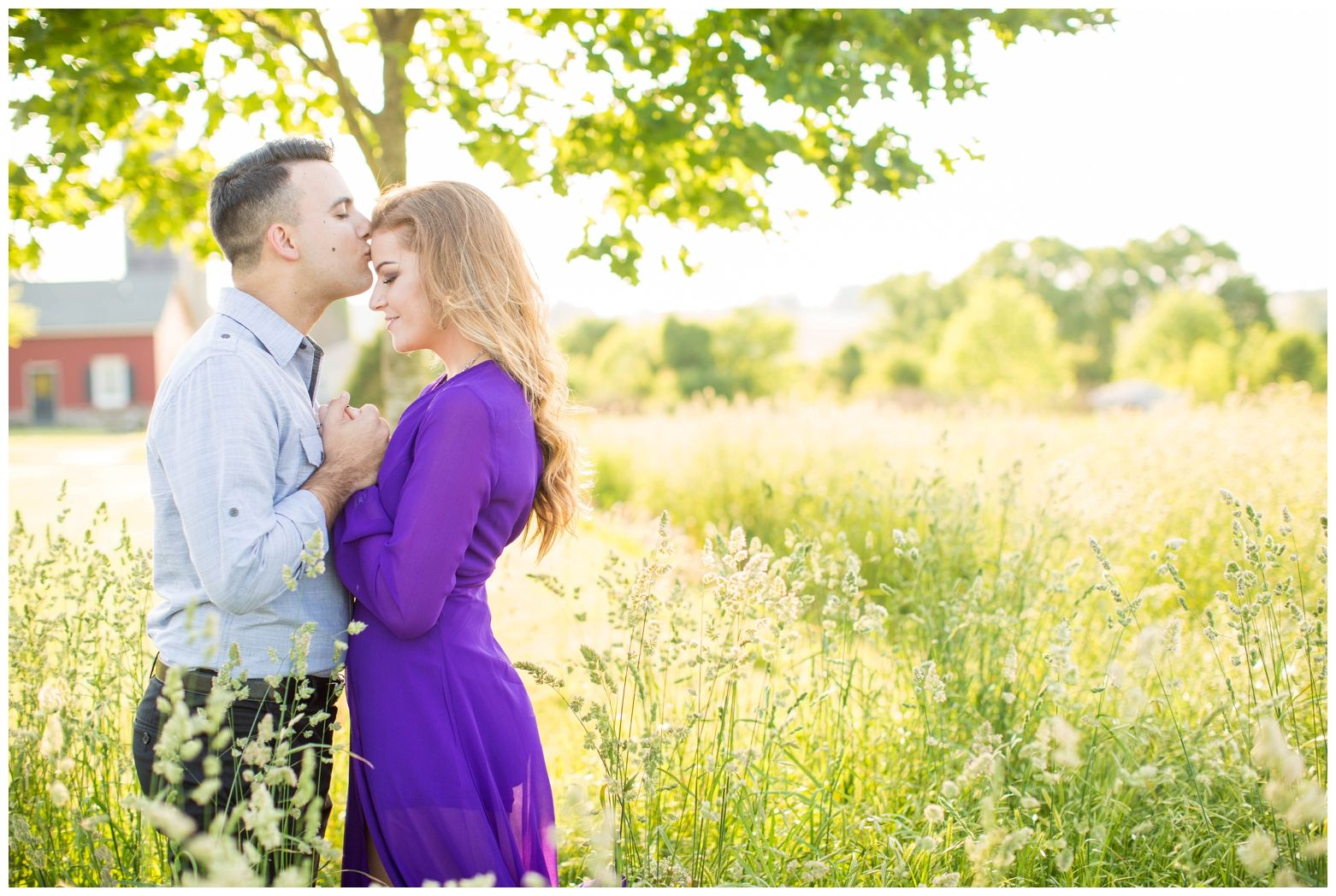 Rural Rural Golden Hour Engagement Session | Purple Dress | Forehead Kisses | Fredericksburg, Virginia | Hope Taylor Photography