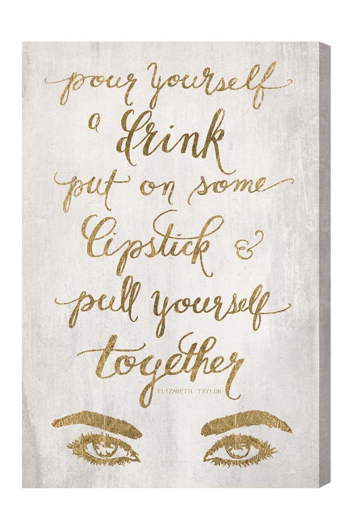 Put on some lipstick gold canvas wall art text pinterest
