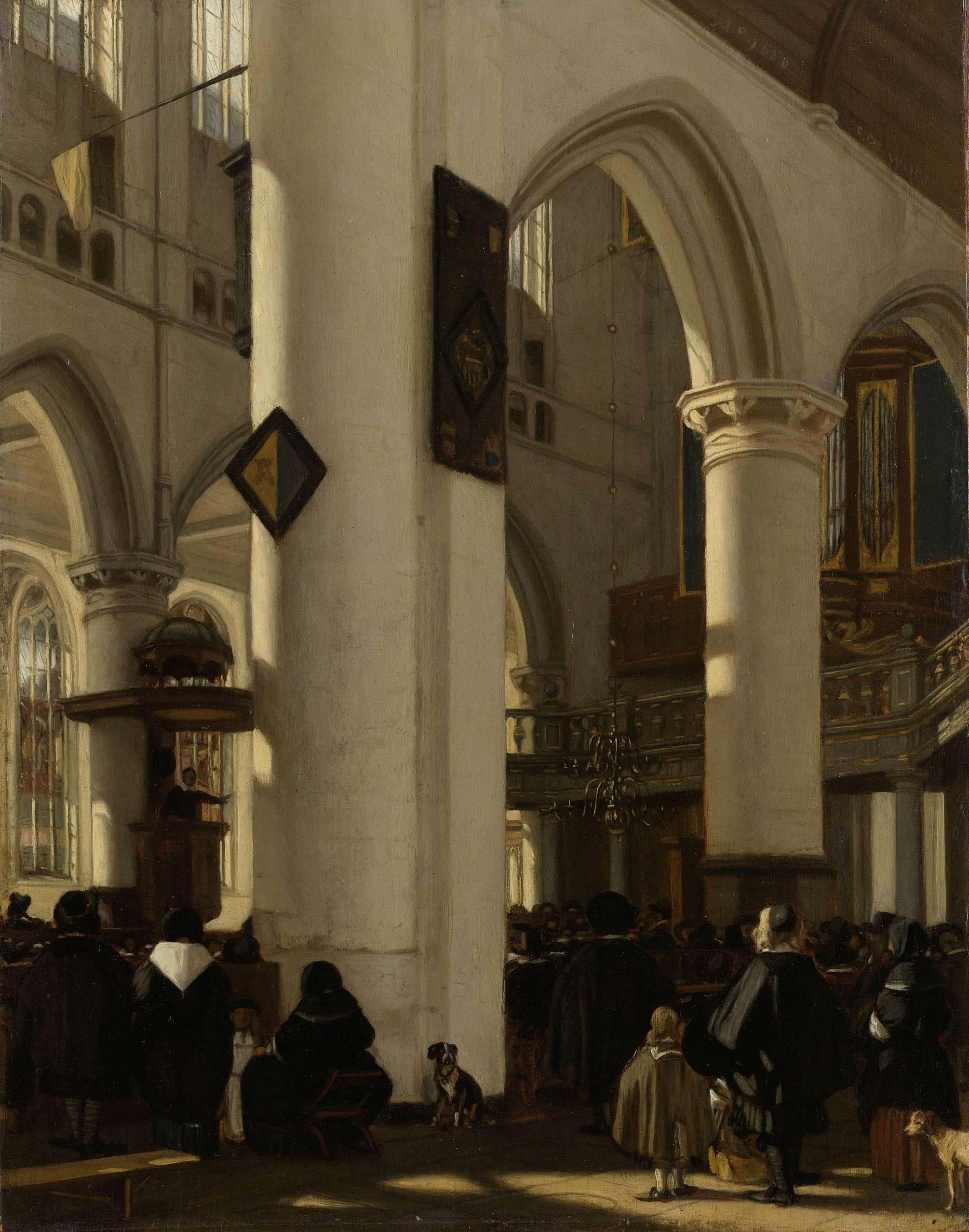 Interior of a Protestant, Gothic Church during a Service (Emanuel de ...