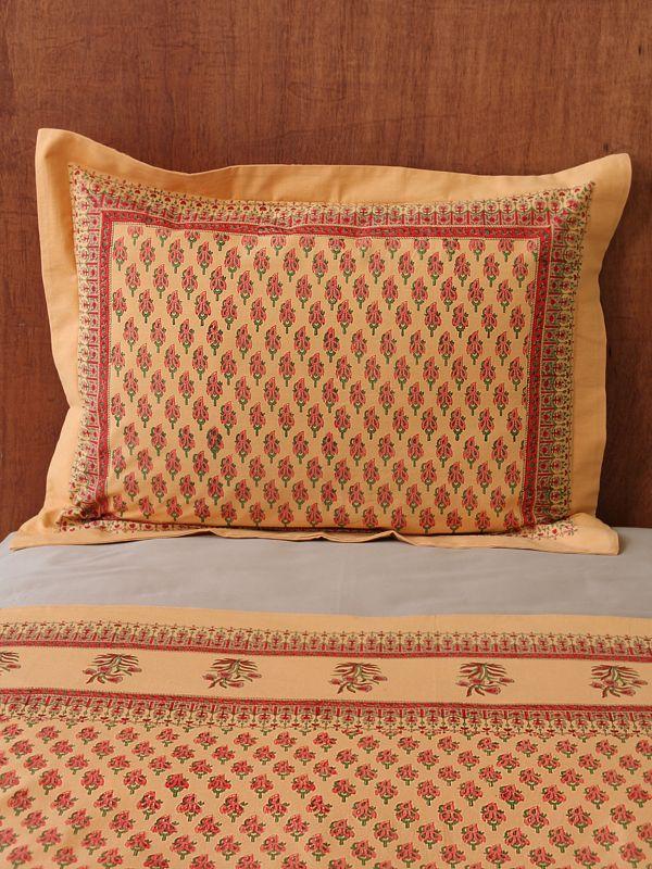 Indian Summer Orange Paisley India Sari Pillow Sham
