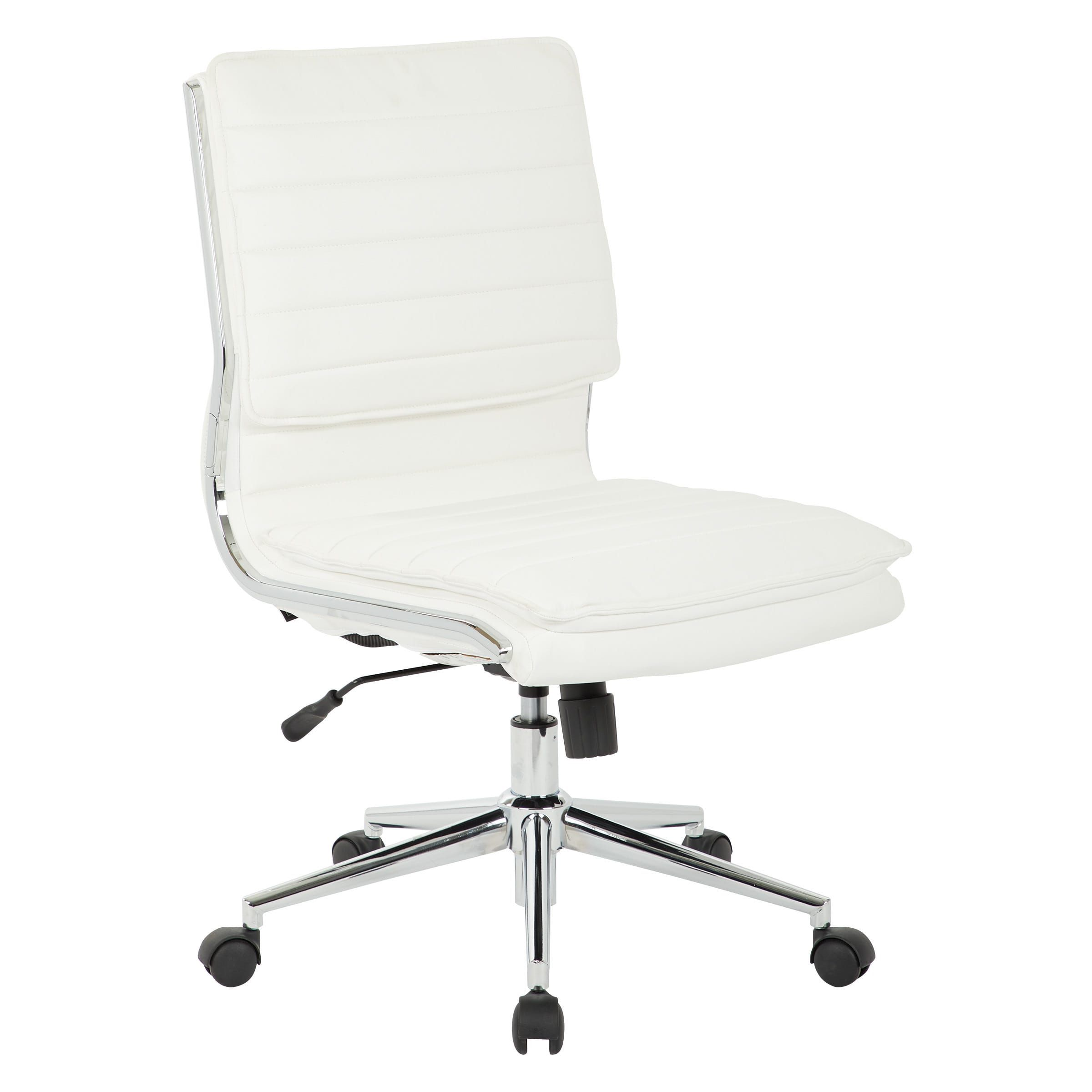 Armless Mid Back Professional Managers Faux Leather Chair
